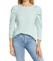 women's treasure & bond puff sleeve thermal top, size small - blue/green