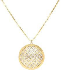 collana in oro bicolore con pendente bottone specchio per