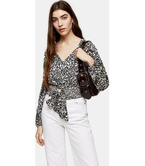 animal print shirred tie front blouse - natural