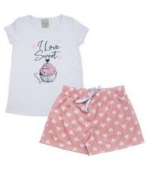 conjunto pijama infantil feminino em meia malha i love sweet branco/rosê multicolorido