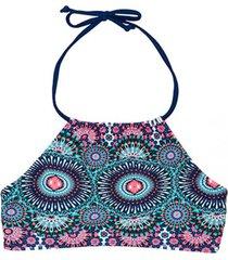 bikini peto con amarras estampado azul samia