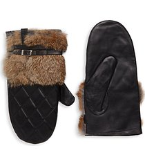 quilted leather & rabbit fur gloves