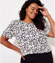 loft plus leopard print button back top