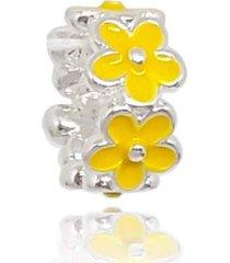 berloque  lua pratas separador flores amarelas