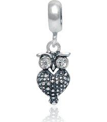berloque lua pratas coruja olhos de zircônia prata