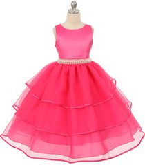 fuchsia satin and organza flower girl dress bridesmaid wedding birthday party