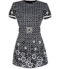 andrew gn slim fit tweed dress - black