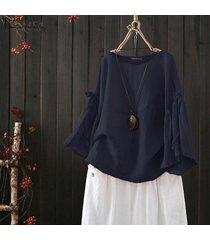 zanzea s-5xl camisa de manga campana para mujer tops blusa lisa casual camisa tops tallas grandes -azul marino