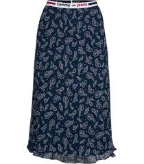 tjw pleated midi skirt knälång kjol blå tommy jeans