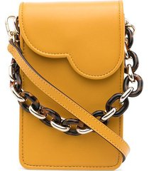 bapy by *a bathing ape® leather phone crossbody bag - yellow
