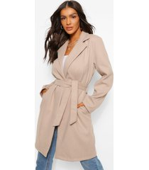 belted wool look coat, stone