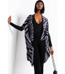 akira animal style fuzzy zebra vest