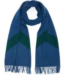 contrast stripe fringe scarf