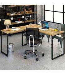 mesa para escritório angular kuadra carvalho - compace