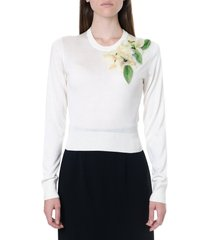 dolce & gabbana white silk sweater with floral decoration
