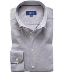 men's eton soft casual line slim fit pique knit shirt, size large - blue