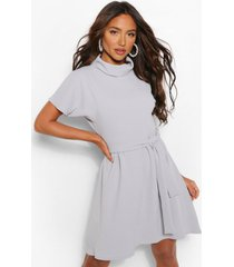 roll neck belted shift dress, light grey