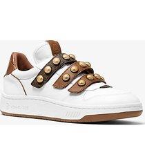 mk sneaker gertie in pelle con borchie - bianco ottico (bianco) - michael kors
