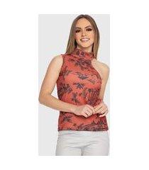 blusa regata carbella canelado estampado detalhe gola e ombro floral laranja/vermelho/preto