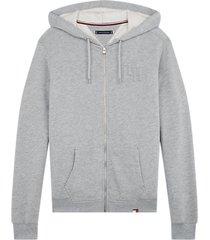 tommy hilfiger heren hoodie met rits - grijs