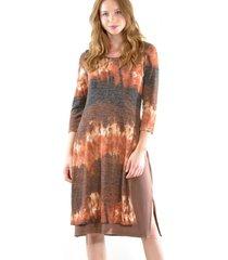 vestido doble lanilla terracota bous