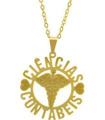 gargantilha horus import ciências contábeis banhada ouro 18k feminina
