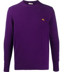 etro cable-knit logo pullover - purple