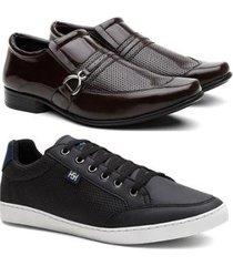 kit sapato social verniz masculino + sapatênis leve casual - masculino