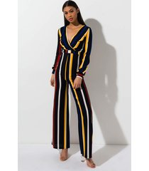 akira just in time striped jumpsuit