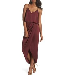 women's shona joy luxe frill tulip hem maxi dress, size 10 - red