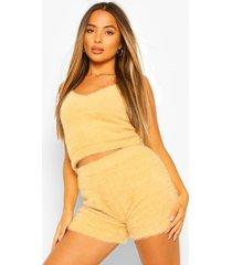 petite pluizige gebreide shorts, camel