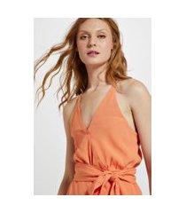 blusa de crepe alcinha lenço amarração laranja califórnia - 42