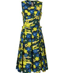 marni rainbow flower printed cotton dress with pleats