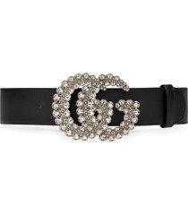 gucci gg crystal leather belt - black