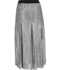 maje women's metallic sequin skirt - silver - size 1 (s)