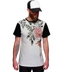 3d94acf280 camiseta di nuevo branca com flor rosa rap flowers florida preta