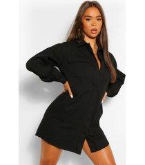 blouse jurk met contrasterend paneel en knopen, zwart