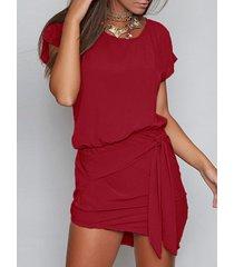 borgoña redondo cuello auto-amarre diseño mini vestido