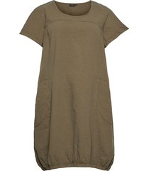 dress plus short sleeves cotton round neck knälång klänning grön zizzi