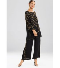 couture tiger stripe beaded tunic robe, women's, black, 100% silk, size m, josie natori
