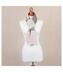 100% alpaca scarf, 'melody of almond and grey' (peru)