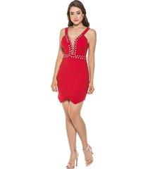 vestido celestine curto pedraria coral
