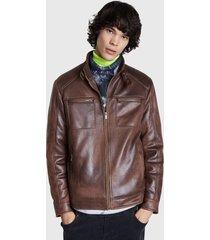 chaqueta desigual caro marrón - calce regular