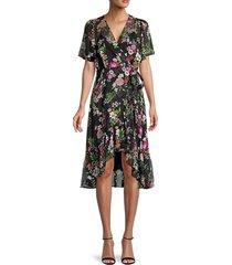 calvin klein women's floral chiffon wrap dress - black - size 4