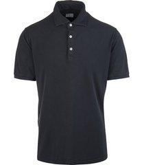 fedeli black piquet classic man polo shirt