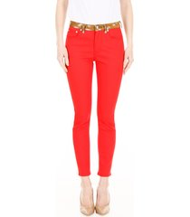bicolor jeans with fawn print