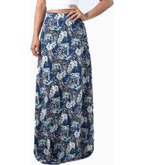 falda larga bristol azul flores lycra maria paskaro
