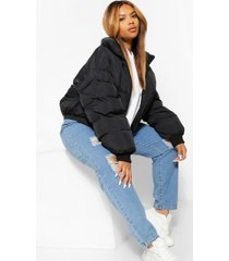 plus funnel neck cropped puffer jacket, black
