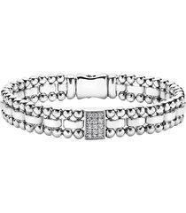 women's lagos caviar spark pave diamond station bracelet