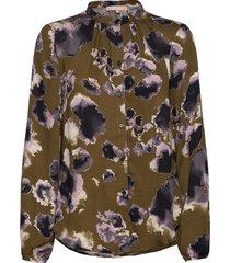 carli ls shirt printed blus långärmad grön soft rebels